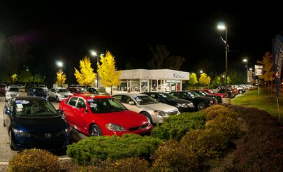 LED Auto dealership parking lot lighting